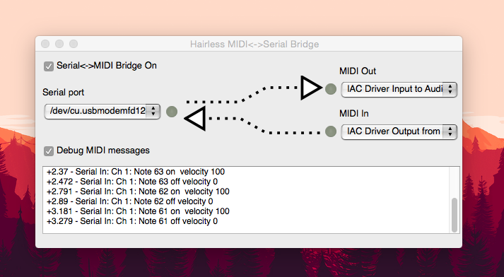 This is the Hairless Serial to MIDI interface, it's super user friendly. Remember to set the BAUD rate in the Preferences
