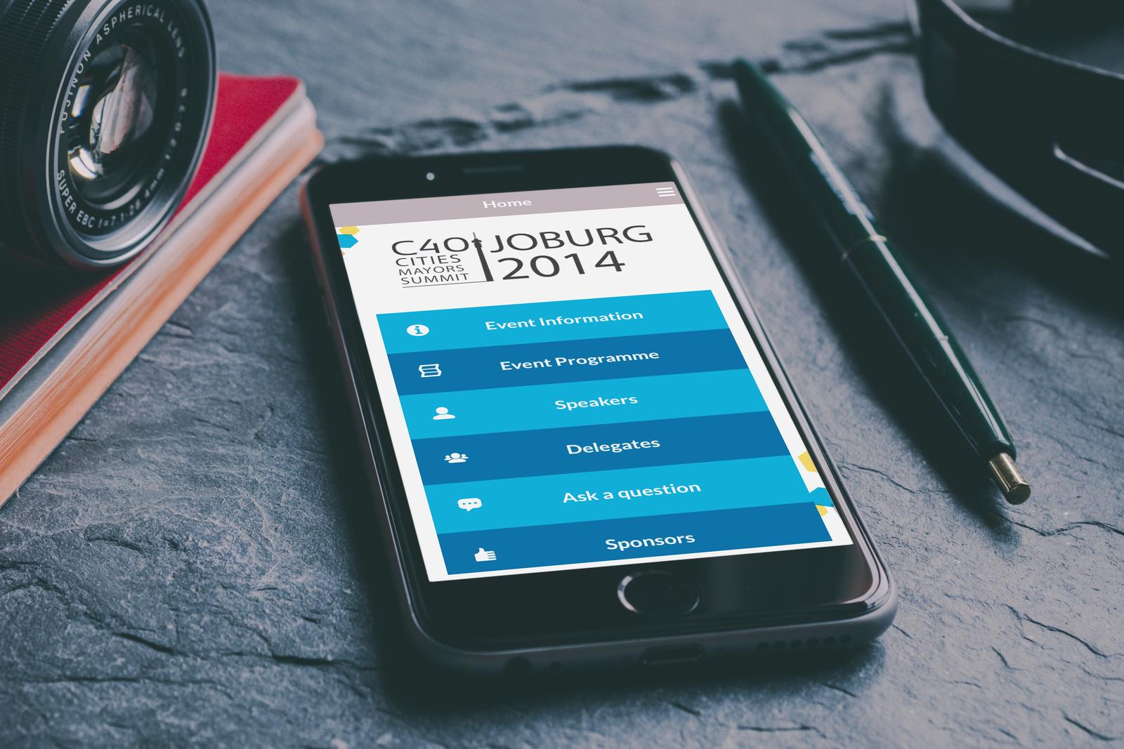 C40 Cities mayors summit Johannesburg 2014 mobile and web app