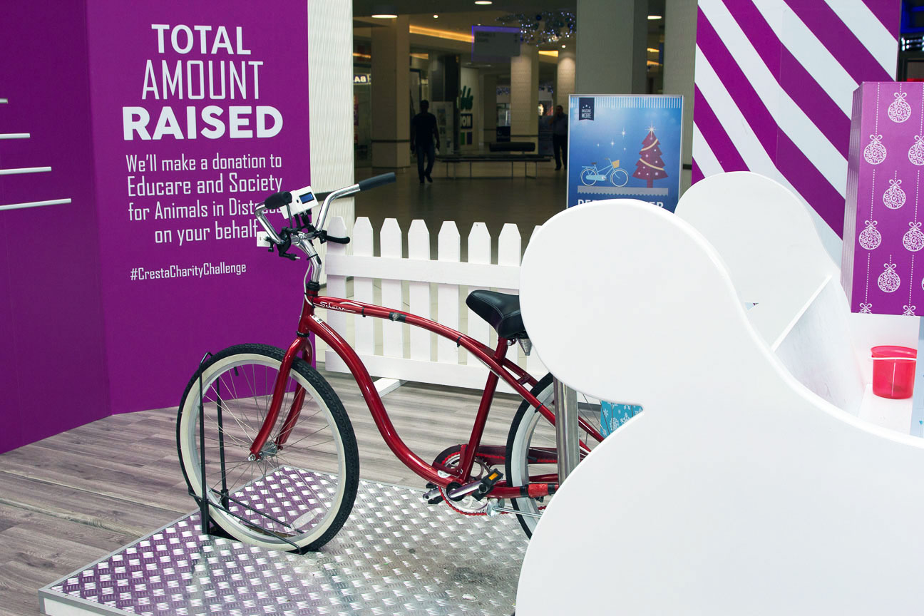 Cresta shopping centre festive campaign interactive bike installation